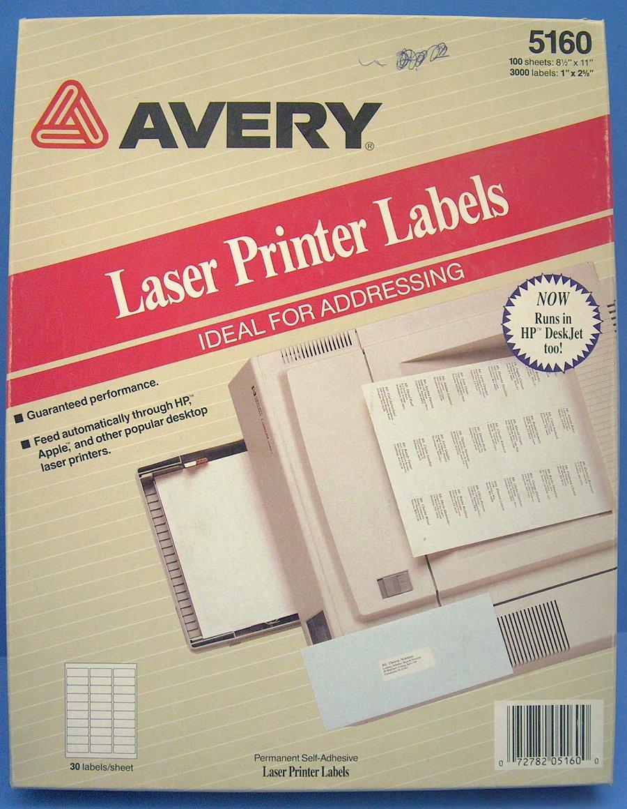k447f genuine 56x30 1680 avery 5160 white address labels laser printer 1 u0026quot x2 625 u0026quot  72782051600